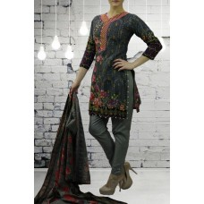 IDC-418 GREY PRINTED AND EMBROIDERED READY MADE SALWAR KAMEEZ