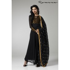 ELEGANT BLACK LONG LENGTH FLARED READY MADE INDIAN STYLE SUIT