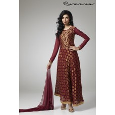 RUST FLARED STYLE VISCOSE FABRIC READY MADE INDIAN STYLE EID DRESS