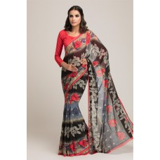 BLACK AND RED GEORGETTE PRINTED READY MADE CASUAL WEAR SAREE