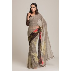 BROWN AND GREEN GEORGETTE READY MADE CASUAL SAREE