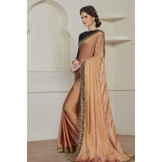 ELEGANT COPPER PARTY WEAR READY MADE TRADITIONAL INDIAN SAREE