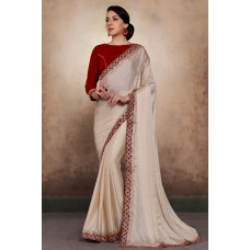 CREAM AND RED GEORGETTE SHIMMER INDIAN STYLISH PARTY WEAR SAREE