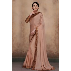 BEIGE BEAUTIFUL BROCADE BLOUSE INDIAN PARTY WEAR READY MADE SAREE