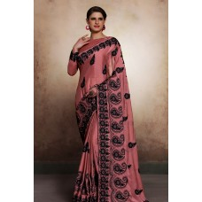DUSTY PINK SATIN DESIGNER READY MADE INDIAN PARTY WEAR SAREE