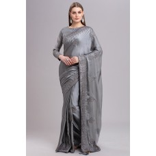 GREY INDIAN PAKISTANI WEDDING SARI