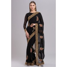 BLACK URBAN STYLISH INDIAN PARTY WEAR READYMADE SAREE