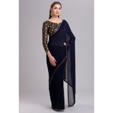 NAVY BLUE PAKISTANI DESIGNER BRIDAL SAREE
