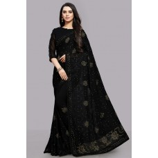 BLACK DESIGNER EMBROIDERED WEDDING SAREE