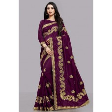 ENGAGING PURPLE PARTY WEAR INDIAN SAREE