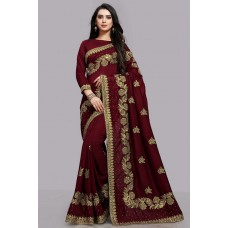 MAROON INDIAN WEDDING BRIDAL READYMADE SAREE