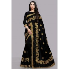 BLACK PAKISTANI DESIGNER WEDDING SAREE