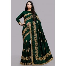 ZIDCS-229 GREEN INDIAN WEDDING WEAR FULL SLEEVE SAREE