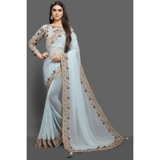 SKY BLUE READYMADE INDIAN WEDDING SAREE