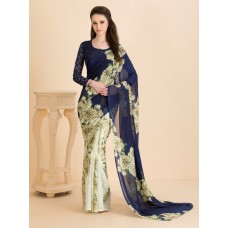 BISCAY GREEN CLASSIC BLUE CASUAL FLORAL PRINTED SEMI STITCHED SAREE AND BLOUSE