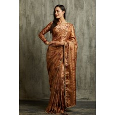 BROWN DIGITAL PRINTED DESIGNER INDIAN PARTY READY SAREE UK