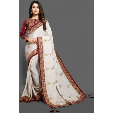 BRILLIANT WHITE & MAROON EMBROIDERED BLOUSE READYMADE WEDDING SAREE