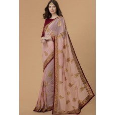 CORAL PINK & MAROON DAZZLING INDIAN PARTY/EVENING WEAR READY MADE SAREE