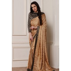 GORGEOUS BEIGE AND BLACK BROCADE BLOUSE READY MADE SAREE