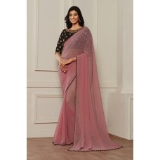 PRECIOUS PINK AND BLACK CONTRAST MATCHING BLOUSE READY MADE SAREE