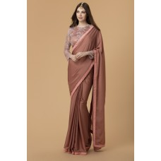 ROSE PINK GEORGETTE HEAVY EMBROIDERED BLOUSE WEDDING SAREE