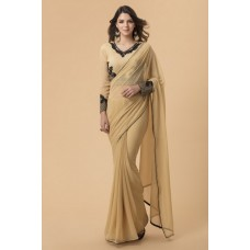 BEIGE PLAIN GEORGETTE INDIAN STYLISH FORMAL SAREE
