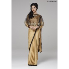 BEIGE INDIAN PARTY WEAR READY MADE CAPE STYLE SAREE