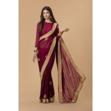 MAROON GEORGETTE SAREE WITH RICH GOLD BORDER
