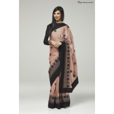 ZIDC-311 ROSE PINK AND BLACK EMBROIDERED INDIAN WEDDING SAREE
