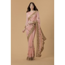 ZIDC-310 PEACH INDIAN WEDDING & BRIDESMAID SAREE