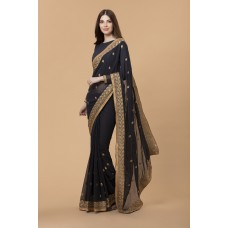 ELEGANT BLACK GEORGETTE INDIAN READY MADE SAREE