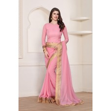 LOVELY PINK GEORGETTE WITH AN AMAZING ZARI BORDER READY MADE SAREE