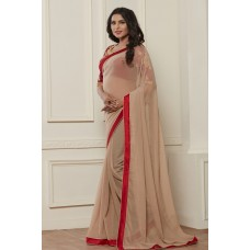 STUNNING NUDE SHADE SHIMMER BEIGE READY MADE SAREE