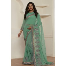 STUNNING SEA GREEN GEORGETTE PAKISTANI CASUAL WEAR SAREE