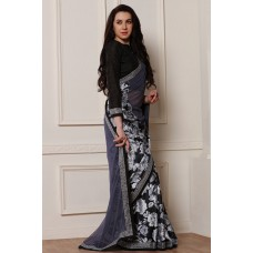 DASHING NEW BLACK AND GREY PRINTED GEORGETTE READY TO WEAR SAREE