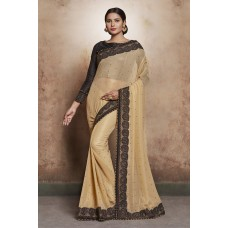 GOLD BEIGE INDIAN DESIGNER SAREE UK
