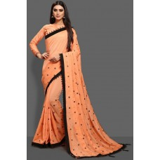 ORANGE PEEL BLACK BORDER READY TO WEAR SAREE