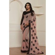 PEACH LOVELY PARTY WEAR INDIAN AND PAKISTANI STYLE SAREE