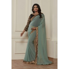PISTA HEAVY EMBROIDERED READY MADE BLOUSE SAREE