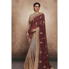 DUSTY GOLD AND MAROON HEAVY GEORGETTE READY MADE ASIAN WEDDING SAREE