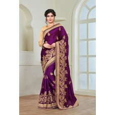 PURPLE SILK EMBELLISHED READY MADE WEDDING WEAR SAREE