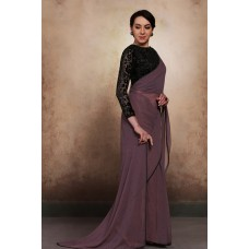MAUVE AND BLACK BLOUSE READY MADE EVENING PARTY WEAR SAREE