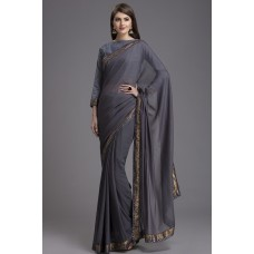 GREY INDIAN DESIGNER PARTY WEAR SAREE