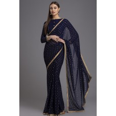 NAVY BLUE MODERN PARTY SAREE