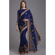 ZIDC-415 ROYAL BLUE WEDDING SAREE