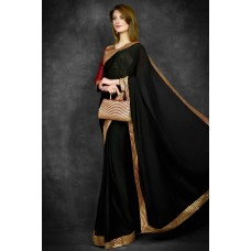 Black Saree With Golden Border & Maroon Blouse Stitched Saree