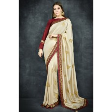 Beige & Maroon Indian Designer Readymade Saree