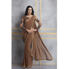 MOCCA BROWN DESIGNER READY MADE PARTY WEAR INDIAN SAREE