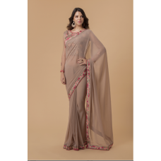 PALE BROWN INDIAN EMBROIDERED PARTY  READY SAREE
