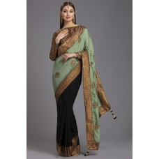 ZIDC-430 BLACK AND GREEN FANCY WEDDING WEAR BROCADE BLOUSE SAREE
